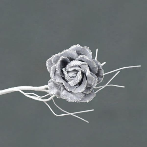 Davies Products Clip On Velvet Rose - 10cm Silver